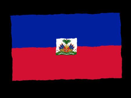 Handdrawn flag of Haiti photo