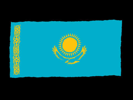 kazakhstan: Handdrawn flag of Kazakhstan