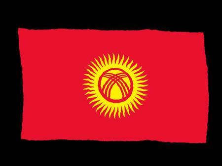 kyrgyzstan: Bandera de Handdrawn de Kirguist�n  Foto de archivo