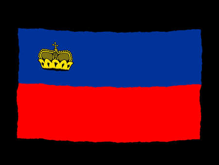 liechtenstein: Handdrawn flag of Liechtenstein