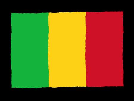 mali: Handdrawn flag of Mali