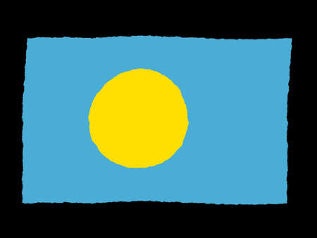 palau: Handdrawn flag of Palau