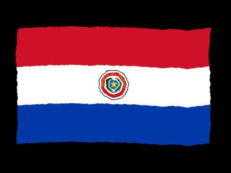 Paraguay: Drapeau de la Handdrawn du Paraguay