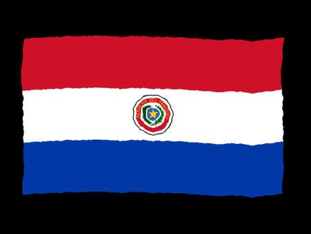 paraguay: Handdrawn flag of Paraguay