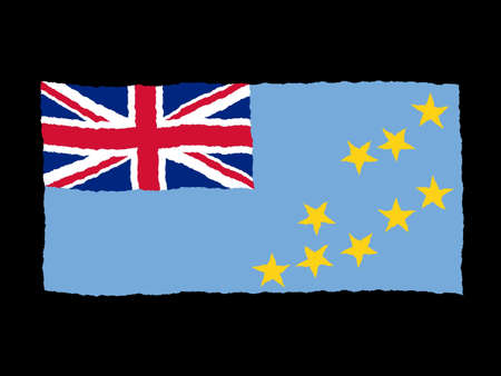tuvalu: Handdrawn flag of Tuvalu Stock Photo