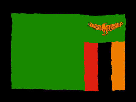 zambia: Handdrawn flag of Zambia