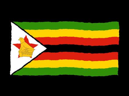 zimbabwe: Handdrawn flag of Zimbabwe