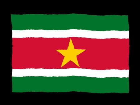 suriname: Hand getekende vlag van Suriname