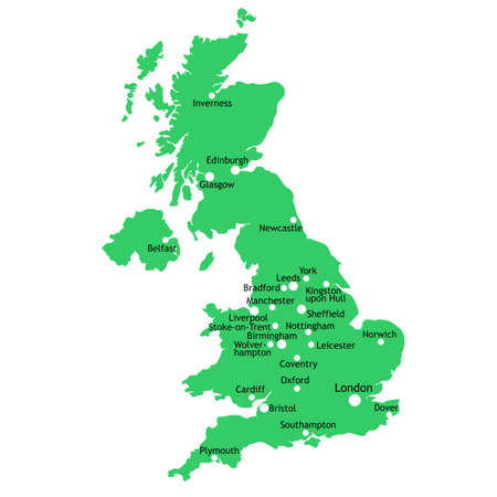 uk map: UK map with main towns and cities Stock Photo