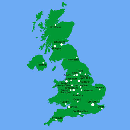 cardiff: UK map with main towns and cities Stock Photo