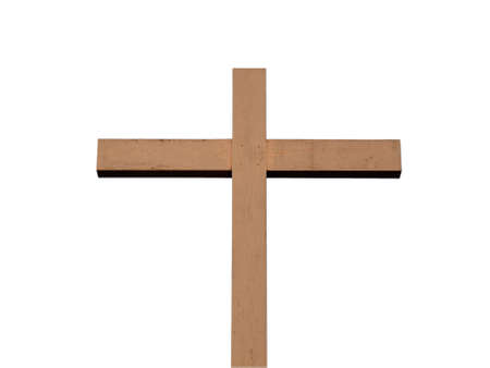 A wooden Christian cross isolated over white background  photo