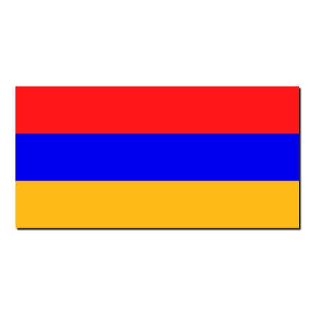 The national flag of Armenia - with shadow over white background Stock Photo - 6321425