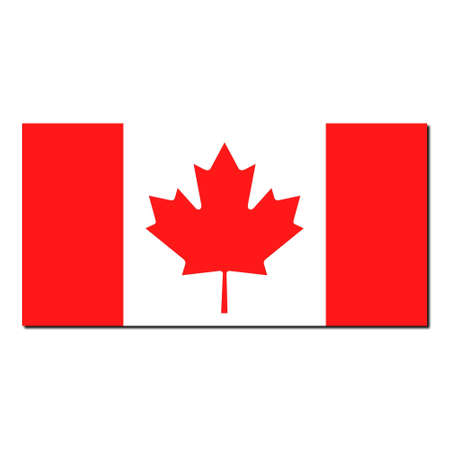 The national flag of Canada - with shadow over white background photo