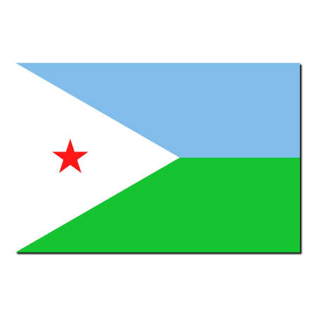 djibouti: The national flag of Djibouti - with shadow over white background