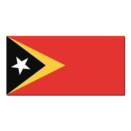timor: The national flag of East Timor - with shadow over white background Stock Photo