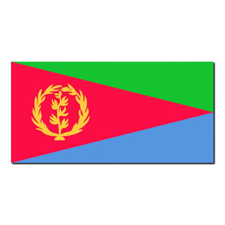eritrea: The national flag of Eritrea - with shadow over white background Stock Photo