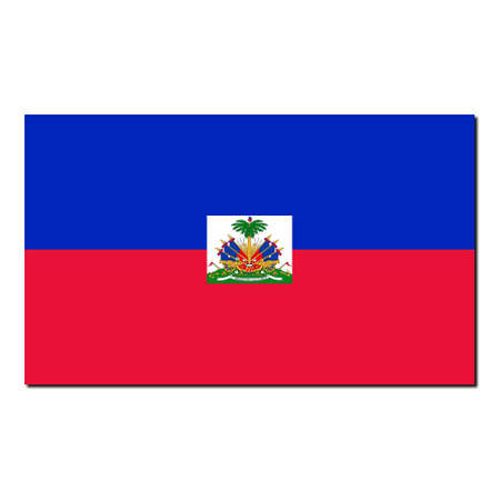 The national flag of Haiti - with shadow over white background photo