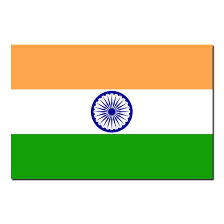 The national flag of India - with shadow over white background photo