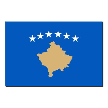 kosovo: The national flag of Kosovo - with shadow over white background