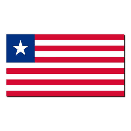 liberia: The national flag of Liberia - with shadow over white background Stock Photo