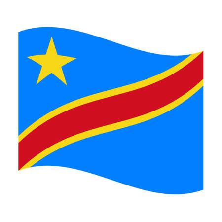 democratic republic of the congo: Illustration of the national flag of democratic republic congo floating