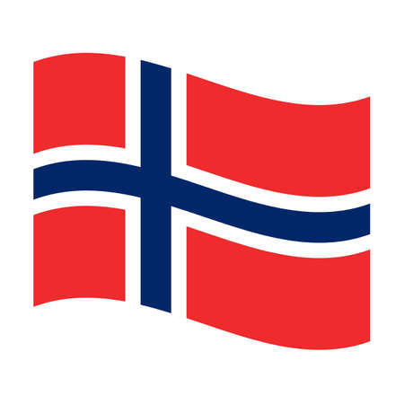 norway flag: Illustration of the national flag of norway floating