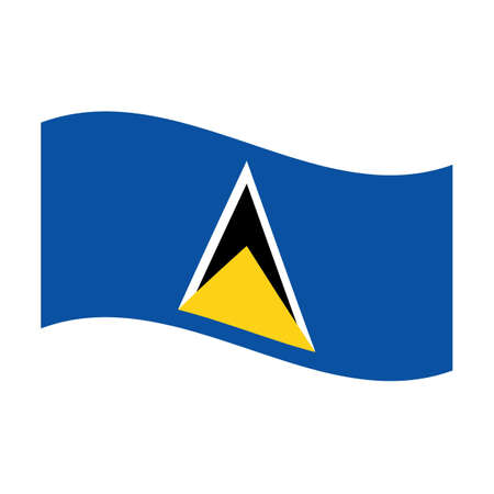 セントルシアの浮遊の国旗のイラスト