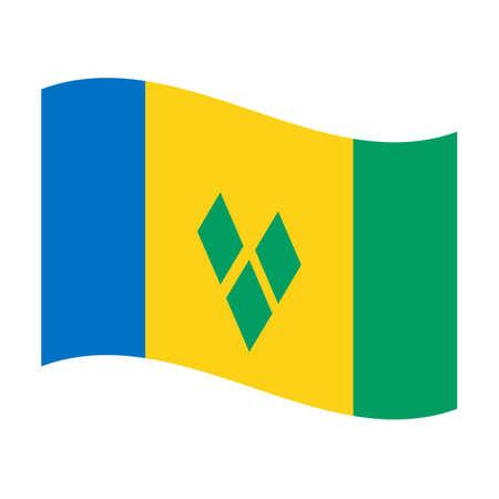 浮かぶ聖ヴィンセントとグレナディーンの国旗のイラスト 写真素材