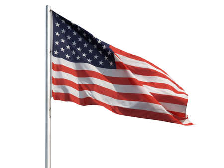 The national flag of the United States of America (USA) - isolated over white background 版權商用圖片