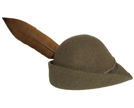robin: Vintage alpine cap hat with a feather - isolated over white background