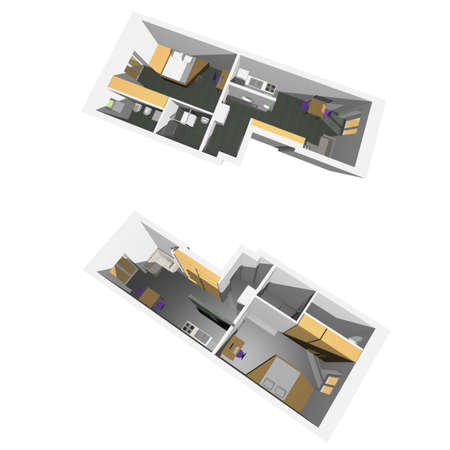 Home interior model of a modern flat (two perspective views) - white background Stock Photo - 6520732