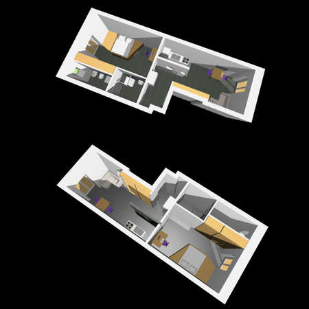 Home interior model of a modern flat (two perspective views) - black background photo