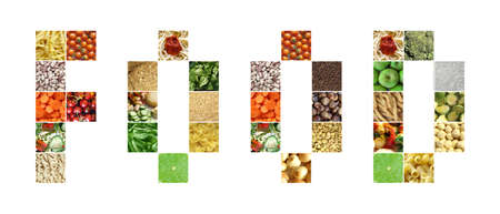 gm: Food text written with pictures of vegetables
