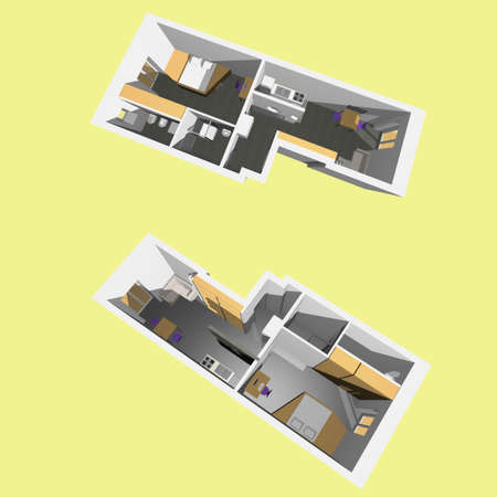 Home inter model of a modern flat (two perspective views) - yellow background Stock Photo - 6577622
