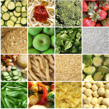 maccheroni: Food collage including pictures of vegetables, fruit, pasta