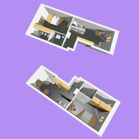 Home interior model of a modern flat (two perspective views) - violet background photo
