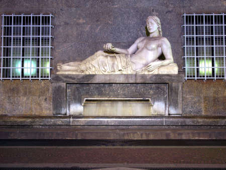 dora: Statue of river Dora in Turin, Italy - at night