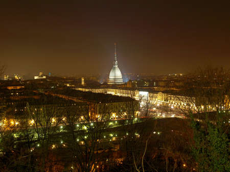 City of Turin (Torino) skyline panorama seen from the hill - at night photo