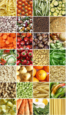 Food collage including pictures of vegetables, fruit, pasta Stock Photo - 6677059