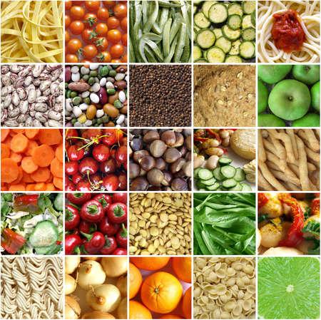 dieta sana: Collage de alimentos, incluyendo fotos de verduras, frutas, pasta