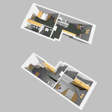Home interior model of a modern flat (two perspective views) - gray background Stock Photo - 6677103