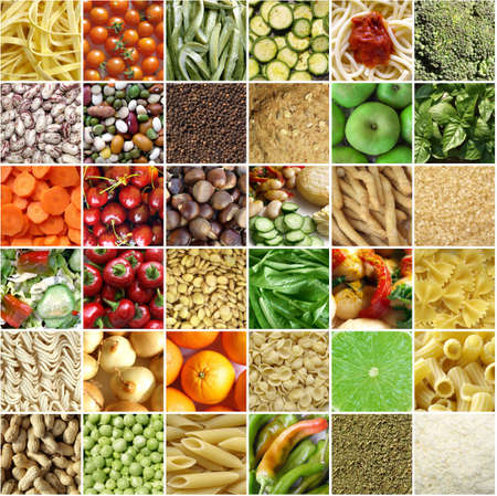 Food collage including pictures of vegetables, fruit, pasta Stock Photo - 6677261
