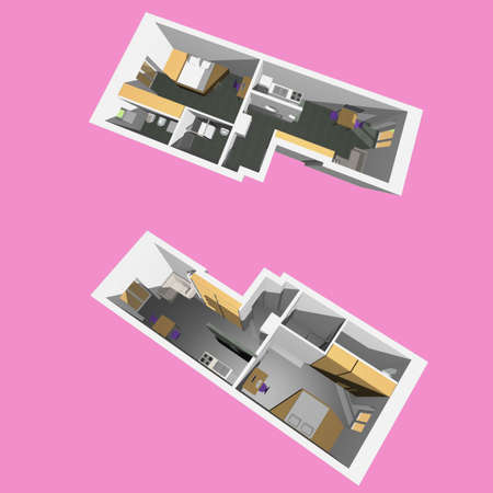 Home interior model of a modern flat (two perspective views) - pink background Stock Photo - 6677217