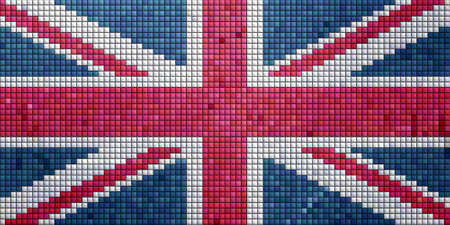Mosaic illustration of the Union Jack flag of the UK illustration