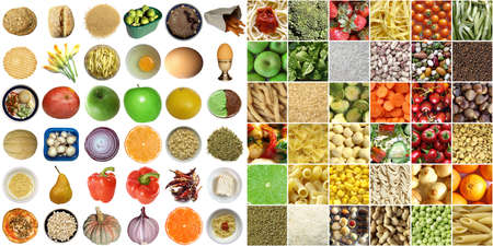 Food collage including pictures of vegetables, fruit, pasta isolated and as a background photo