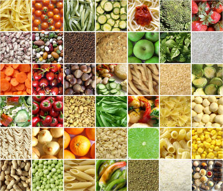 vegetarian cuisine: Food collage including pictures of vegetables, fruit, pasta