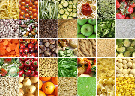 bean sprouts: Food collage including pictures of vegetables, fruit, pasta