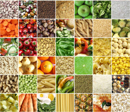 Food collage including pictures of vegetables, fruit, pasta Stock Photo - 6678166