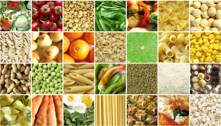 Food collage including pictures of vegetables, fruit, pasta photo