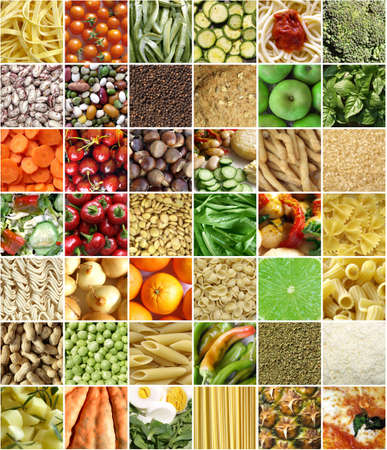 ingredient: Food collage including pictures of vegetables, fruit, pasta